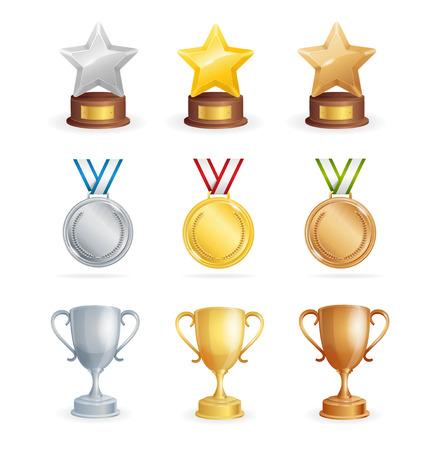 Sport Awards Set. Cup, Star and Medal. Vector illustration Illustration