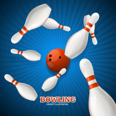 blue ball: Bowling Concept. Strike  over Rays Background. Vector illustration