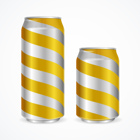 cold storage: Aluminium Cans with Yellow Stripes. Vector illustration Illustration