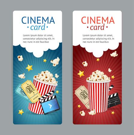 Bioscoop Movie Card Set geïsoleerd op Grey. vector illustratie