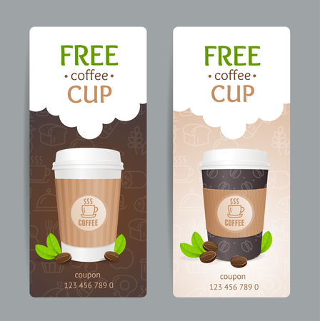 takeout: Coffee Coupon Set. Free Cup. Vector illustration