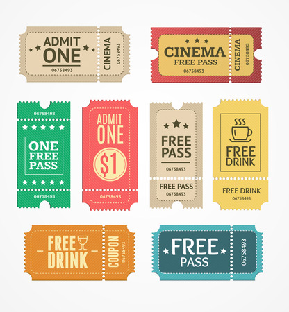 set free: Coupon and Tickets Set. Free Labels. Vector illustration