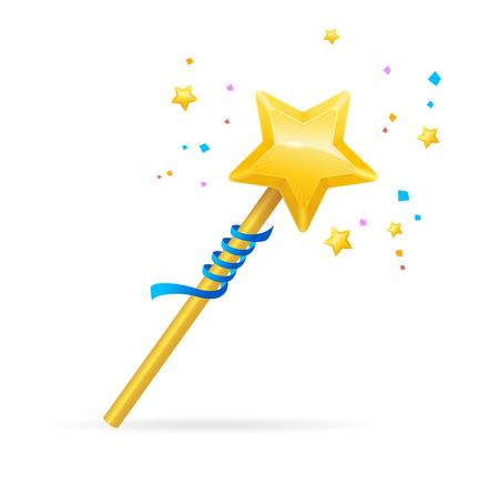 thaumaturge: Magic Wand with Shining Star. Vector illustration Illustration