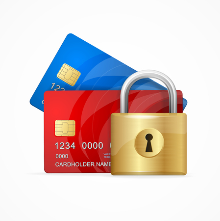 secure money: Money Secure Concept. Credit Card and Padlock. Vector illustration