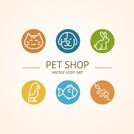 Pet Shop Concept. Circle buttons. Vector illustration