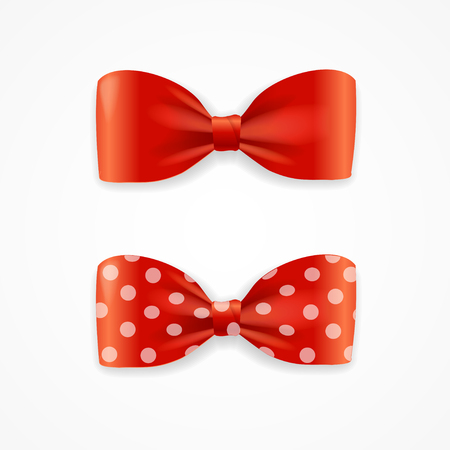 red bow: Red Bow Tie Set with Droplets. Vector illustration