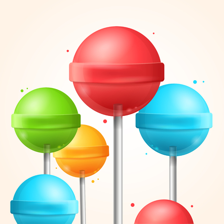 Sweet Candy Colorful Lollipops Background.