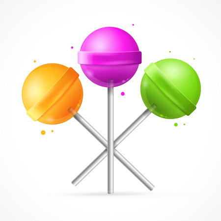 lollipops: Glossy Round Colorful Lollipops Set.