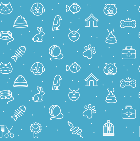 cat fish: Pet Seamless Pattern on a Blue Background.