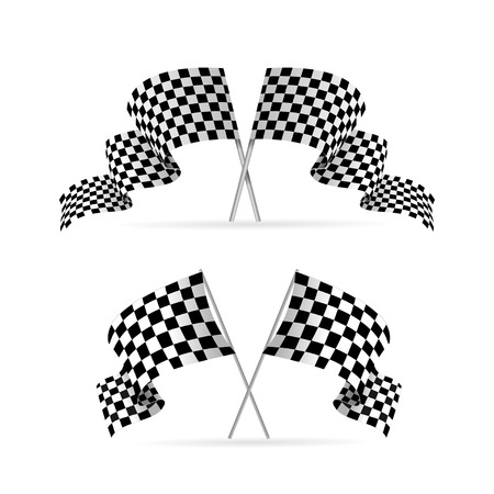 black and white background: Racing Flag Auto Set. Symbol Of The Competition. Illustration