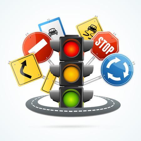 traffic regulation: Traffic Light and Road Sign Concept.