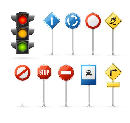 luz roja: Semáforo y Suscribirse Conjunto carretera. Vectores