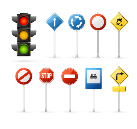 Verkeerslicht en Road Sign Set. Stock Illustratie