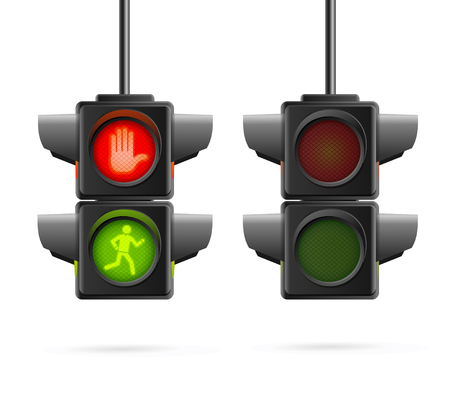 not working: Traffic Lights Set Realistic. Working and Not.