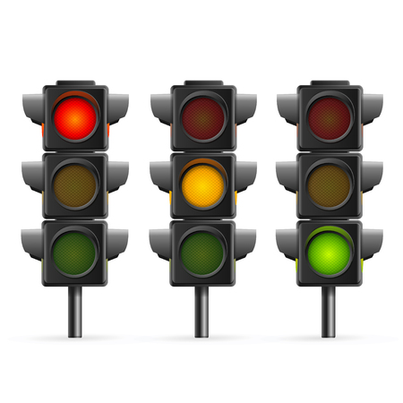 Traffic Light Sequence on White Background. Vectores