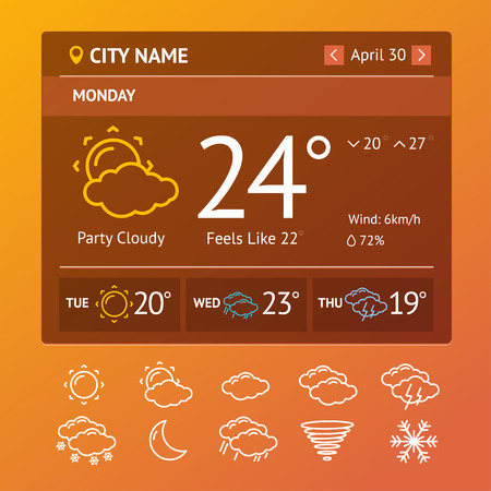 mobile application: Template Weather Widgets for Mobile Application.