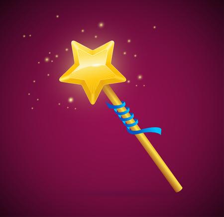 Varita mágica con el brillo de la estrella y la cinta azul.
