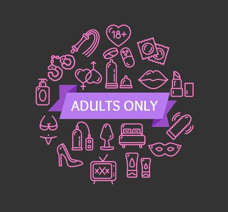 sex symbol: Adults Only Concept. Sex Symbol. Vector illustration Illustration