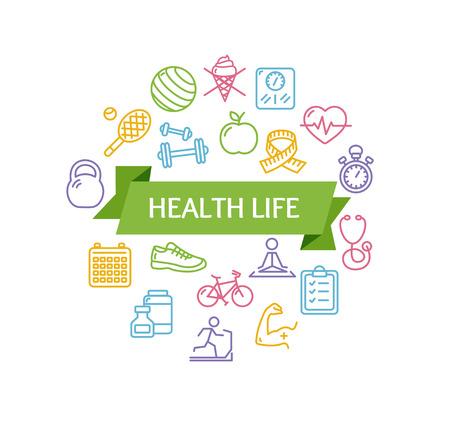 Health Life Fitness Concept e il nastro con iscrizione. Illustrazione vettoriale