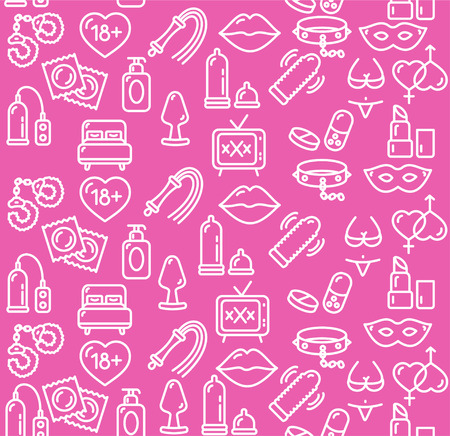 Intim or Sex Shop Background on Pink. Vector illustration