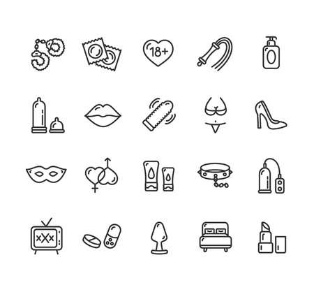Intim or Sex Shop Outline Icon Set. Vector illustration  イラスト・ベクター素材