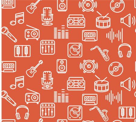 multimedia icon: Music Background Outline Icon Set on Red. Vector illustration