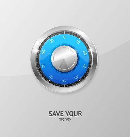 lock concept: Save Money Concept. Safe with Combination Lock. Vector illustration