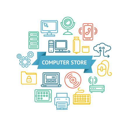 hardware configuration: Computer Store Concept with Inscription on Blue Ribbon. Vector illustration Illustration