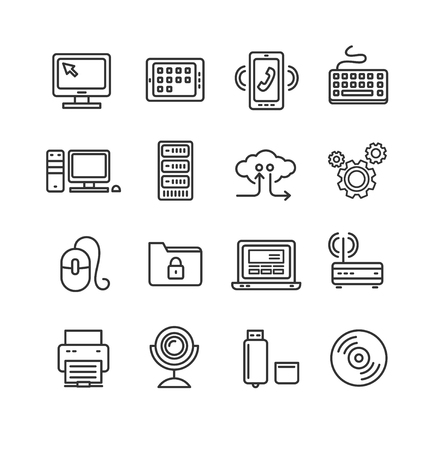 Computer Technology Outline Icon Set. Vector illustration Stock Illustratie