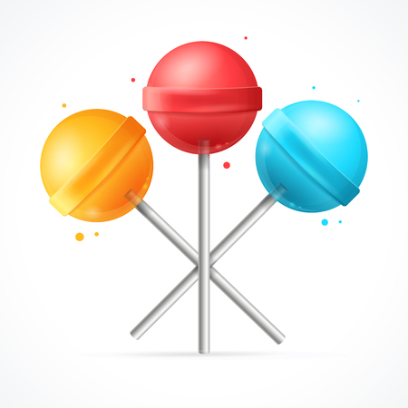 sweet background: Sweet Candy Lollipops Set on White Background. Vector illustration
