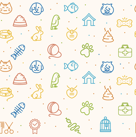 Colorful Pet Seamless Pattern on a White Background. Vector illustration