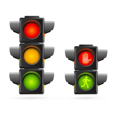 luz roja: Semáforos conjunto realista. Tres colores y dos. ilustración vectorial Vectores