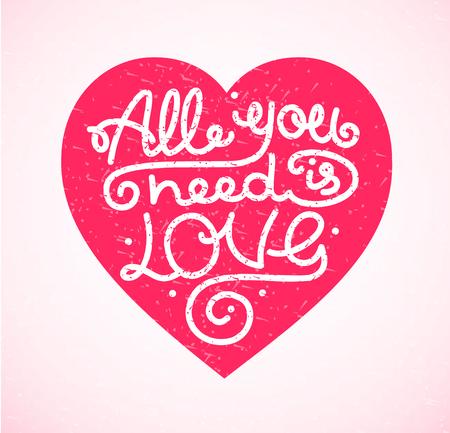 Sie müssen alle ist Liebe Hintergrund Transparent Karte Beschriftung mit Herz. Vektor-Illustration Vektorgrafik