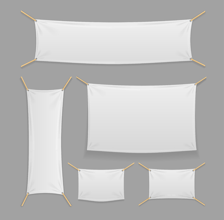 Banners Textile and Folds Template Mockup. Advertising Empty. Vector illustration
