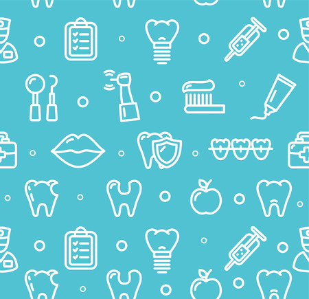 Dental Tooth Clinic Background Pattern on Blue. Vector illustration