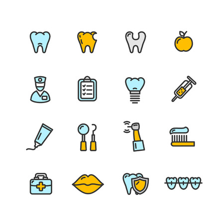 doctor icon: Dental Tooth Doctor Color Icon Set. Vector illustration Illustration