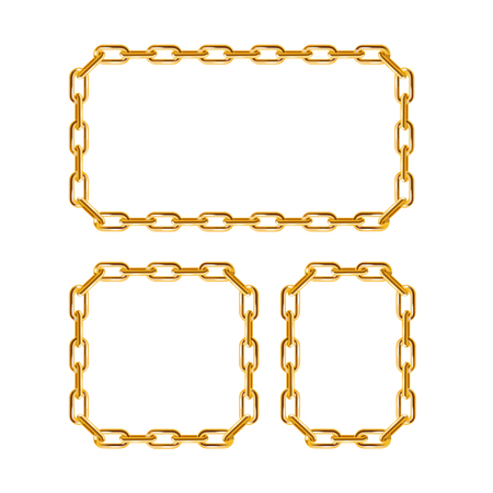 gold chain: Gold Chain Frames. Different Sizes. Vector illustration Illustration