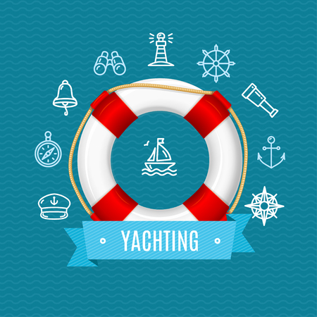 yachting: Nautical Sea Yachting Concept with Lifebuoy. Vector illustration