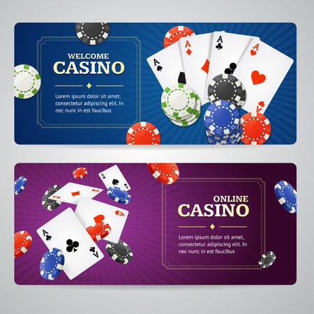 vegas sign: Poker Casino Banner Set with Cards and Chips. Vector illustration
