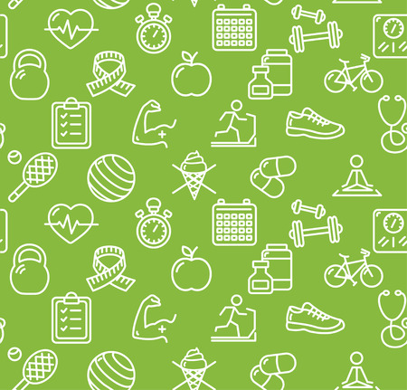 Health Life Fitness Background on Green. Vector illustration Stock Illustratie