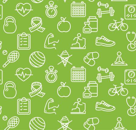 Health Life Fitness Background on Green. Vector illustration Vettoriali