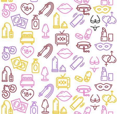 Intim o Sex Shop de colores de fondo. ilustración vectorial