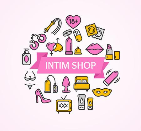 adults sex: Intim or Sex Shop Concept. Vector illustration
