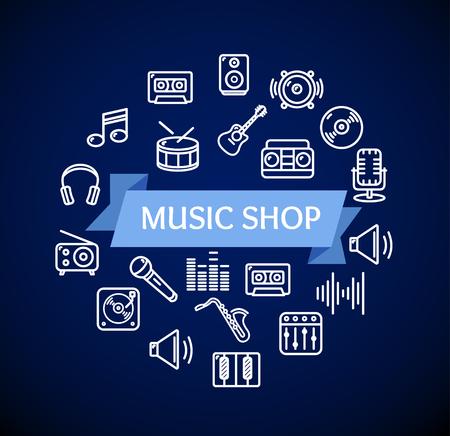speaker icon: Music Shop Concept on Dark Blue. Vector illustration