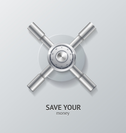 security symbol: Save Money Concept. Safety Deposit Box Symbol Of Security. Vector illustration Illustration