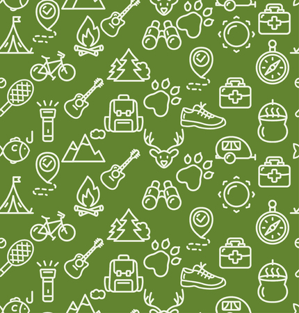 seamless patterns: Camping Tourism Hiking Background on Green. Vector illustration