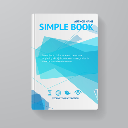 literature: Book Template With Abstract Blue Wave. Vector illustration Illustration