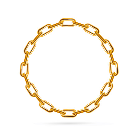 Gold Chain Frame Round. Place for Text. Vector illustration  イラスト・ベクター素材