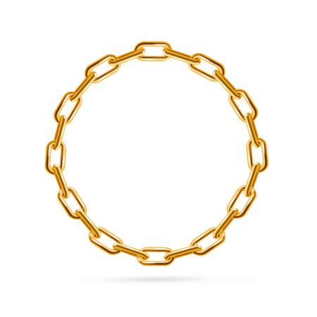 Gouden Ketting Frame Round. Plaats voor tekst. vector illustratie