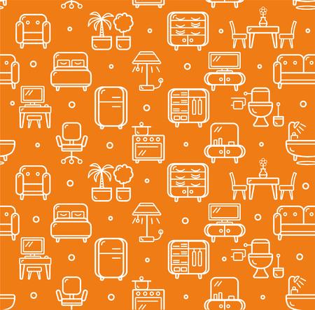 furniture computer: Furniture Background Pattern. Outline Icon on Orange. Vector illustration Illustration